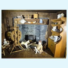 Early Furnished Room Box with Dolls, Toys and Fireplace