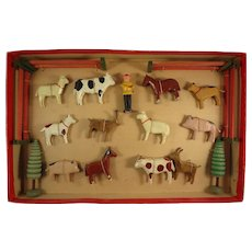 German Farm Animal Set in Original Box Erskebirge Wood