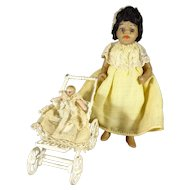 """4"""" All Bisque Brown Complexion Doll with Glass Eyes"""