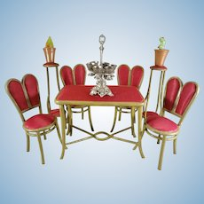 Miniature Bentwood Table, Chairs and Pedestals