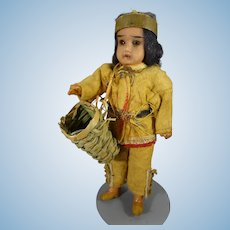 """6 1/2"""" Bisque Indian with Glass Eyes"""