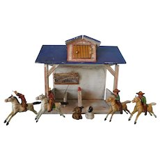 Set of Four Erzgebirge Horses with Cowboy and Indians