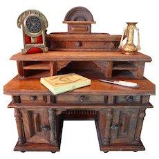 Miniature Oak Desk in Large Doll House Scale