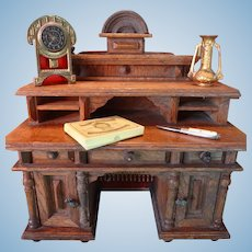 Miniature Oak Desk in Large Doll House Scale