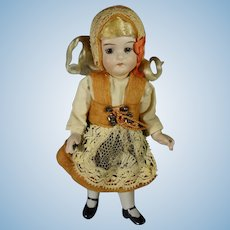 """6"""" All Bisque Doll with Swivel Head and Glass Eyes"""