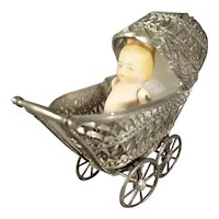Small Doll Carriage with All Bisque Baby