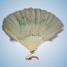 Beautiful Fan from Feathers with Painted Decoration