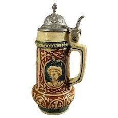 Miniature Antique Porcelain Mug with Metal Lid