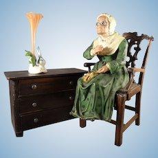 Papier Mache Seated Lady Knitting