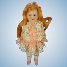 "3 1/2"" All Bisque Doll with Flowing Wig"