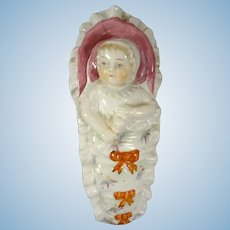 Porcelain Baby in Bunting Covered Box Vanity Dish