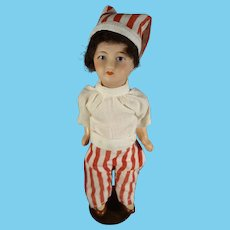 """French 6 1/2"""" Bisque Doll with Santa Hat"""