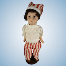 "French 6 1/2"" Bisque Doll with Santa Hat"