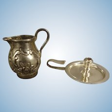 Sterling English Chamberstick and Pitcher