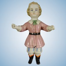 "4"" Porcelain All Bisque Doll with Molded Clothes"