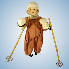 "7 1/2"" Cloth Skier Doll with Poles ""Sky Girl"""