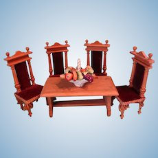 Doll House Oak Table and Chairs