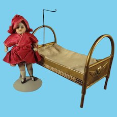 Lovely Gilt Metal Doll House Bed with Cherubs and Bedding