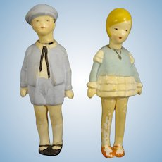"Pair 4"" All Bisque Boy and Girl Nodders"