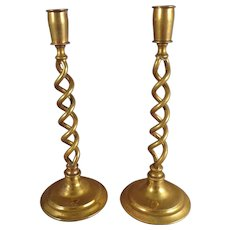 Pair of Brass Candlesticks for Doll House