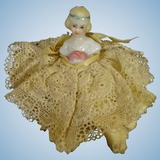 Tiny Half Doll Dressed in Lace