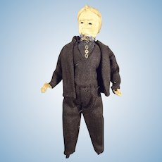 "6"" Cloth Doll House Man in Black Suit"