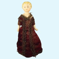 """5"""" Doll House Lady with Blonde Sculpted Hair"""