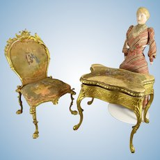 French Gilt Bronze Chair with Hand Painting on Silk