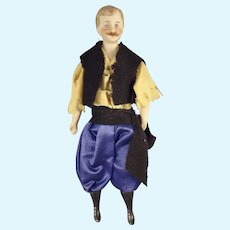 """7"""" Doll House Man with Moustache and Regional Costume"""