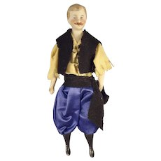 "7"" Doll House Man with Moustache and Regional Costume"