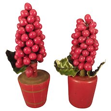 Pair of Mini Red Berry Trees for Doll House