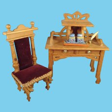German Doll House Desk and Upholstered Chair