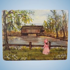 Miniature Pastoral Painting on Wood