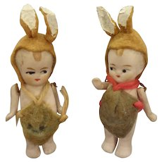 Pair All Bisque Dolls Dressed as Bunnies