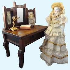 Doll's Vanity Dressing Table with Three Part Mirror