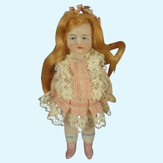 """3 1/2"""" All Bisque Doll with Flowing Wig"""