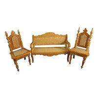 Doll House Settee and Chairs with Woven Seats
