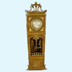 Doll House Tin Painted Tall Case Clock with Pendulum