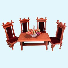Doll House Table and Four Chairs