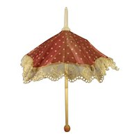 Lovely Silk Parasol with Lace Trim for Fashion Doll
