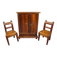 Antique Doll House Armoire and Side Chairs