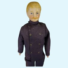 """7 1/2"""" Doll House Man with Moustache in Service Costume"""