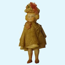 "3 1/4"" All Bisque Doll House Girl Pin Jointed"