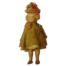 """3 1/4"""" All Bisque Doll House Girl Pin Jointed"""