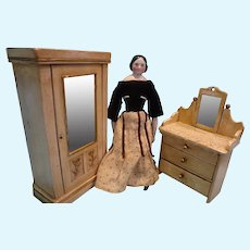 Doll Size Armoire and Dresser with Mirror