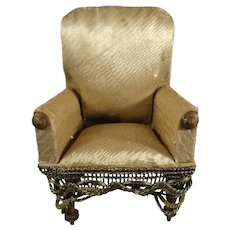 Miniature Upholstered Doll's Chair