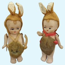 Pair All Bisque Dolls as Bunnies