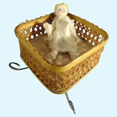"""Presentation Basket with 3"""" All Bisque Doll"""