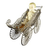 Large Soft Metal Filigree Doll Carriage