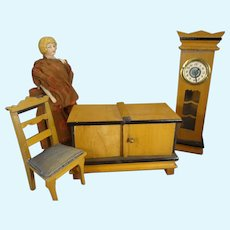 Doll House Tall Case Clock, Chest and Chair